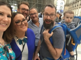 A blurry, but fun picture of my family in Naples
